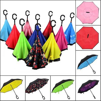 Modern Upside Down Reverse Umbrella C-Handle Double Layer Inside-Out 13Colors