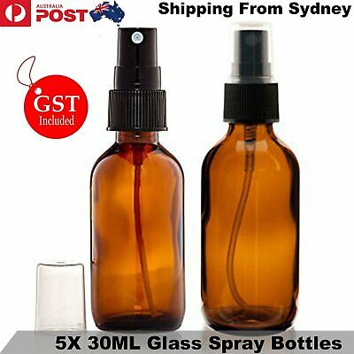 5x 30ml Amber Glass Spray Bottles Trigger Atomizer Refillable For Essential Oils