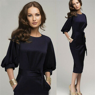 Elegant Womens Bodycon Office Business Party Evening Cocktail Midi Pencil Dress