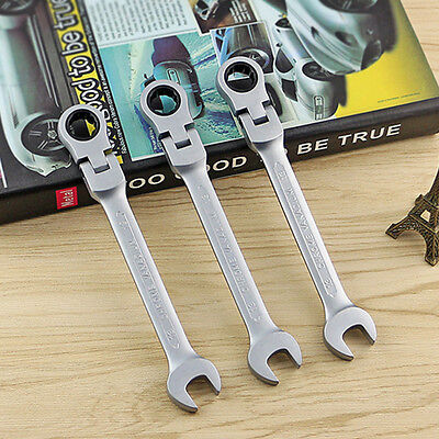 8mm-19mm Flexible Head Ratchet Metric Spanner Open End & Gear Ring Wrench Tool