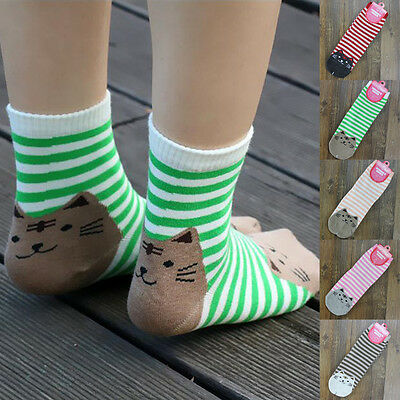 1 Pair Cute Cat Pattern Striped Ankle High Socks Women Breathable Cotton Socks