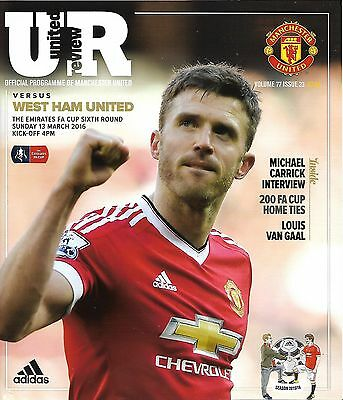 MANCHESTER UNITED v WEST HAM UNITED FA CUP 6th ROUND 2015/16 MINT