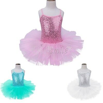Girls Gymnastics Ballet Dress Kids Leotard Tutu Skirt Party Dance Wear Costume