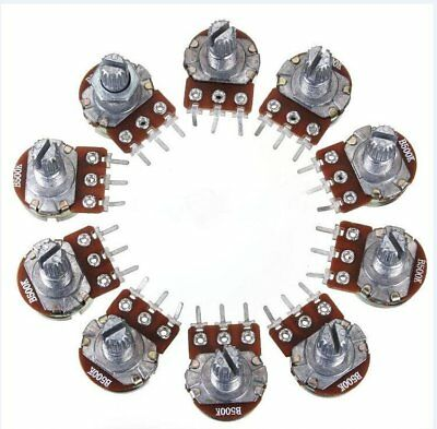 10PCS B500K OHM Linear Taper Rotary Potentiometer 3 Pin 15MM Shaft With Nuts