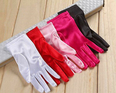 Women Satin Evening Party Cocktail Dress Prom Short Wrist Finger Wedding Gloves