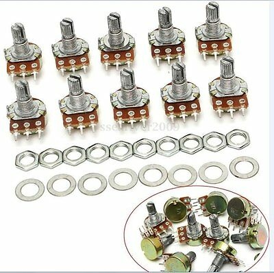10PCS B1M 1M Ohm Linear Taper Rotary Potentiometer 15mm Shaft 3 Pin With Nuts