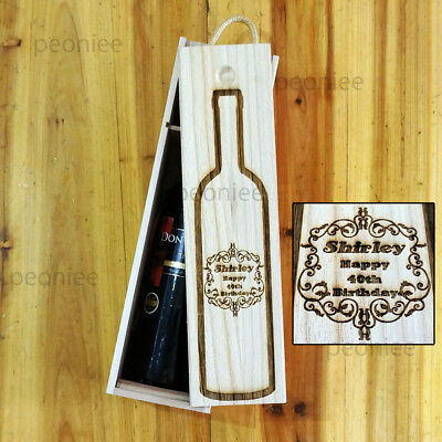 PERSONALIZED Engraving Bottle Wooden Wine Box Birthday Groomsman Bridesmaid Gift