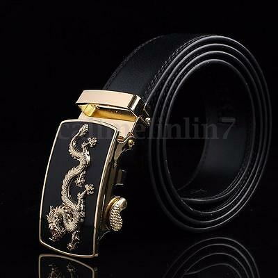 UK Men's Automatic Buckle Genuine Waistband Leather Belts Black  Waist Strap