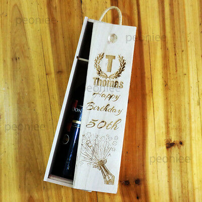 PERSONALISED Engraving Bottle Wooden Wine Box Birthday Groomsman Bridesmaid Gift