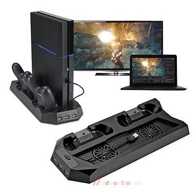 3Hub Cooling Fan Charging Dock Station Vertical Stand Fr PS4 PlayStation Control