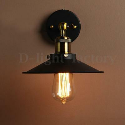 Vintage Metal Industrial Bowl Sconce Loft Cofe Rustic Lounge Wall Light Lamp E27