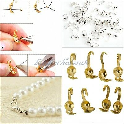 Lot 300pcs Silver Gold Plated Metal Crimp End Caps Beads For Jewelry Making DIY