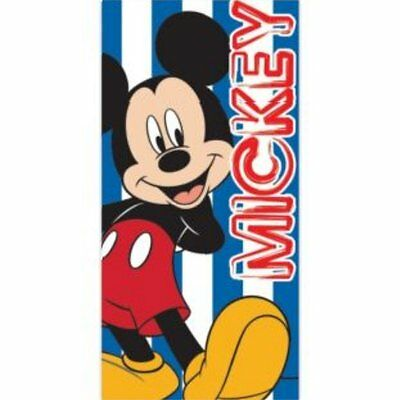 Disney Mickey Mouse Childrens Boys Kids Blue Striped Beach Bath Towel / Swimming