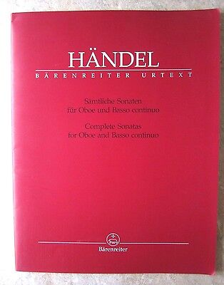 Handel Complete Sonatas for Oboe and Piano *NEW* published by Barenreiter BA4260