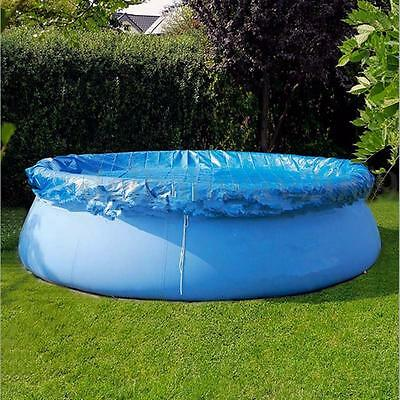 8Ft/10Ft Swimming Pool Cover Round With Rope Ties Inflatable Paddling Sheet Fast