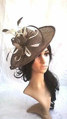 NEW TAUPE WITH IVORY SINAMAY & FEATHER FASCINATOR Shaped saucer disc,Wedding.