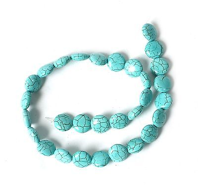String of Flat Round Turquoise Howlite Beads for Jewellery Making T44JS