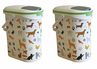 2x Curver Dry Pet Food Containers Easy Carry Handle and Pouring Lid 4kg
