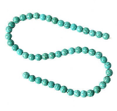 String of 8mm Round Turquoise Howlite Beads for Jewellery Making B37S
