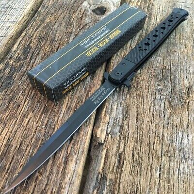 "TAC FORCE 13"" Extra Large Spring Assisted Open STILETTO BLACK Pocket Knife"