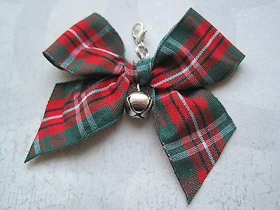 RED GREEN TARTAN BOW JINGLE BELL Cat Small Dog Collar Pet Charm Clip on Xmas