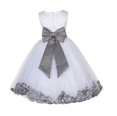 White Wedding Pageant Floral Lace Bodice Rose Petal Tulle Flower Girl Dress 165t