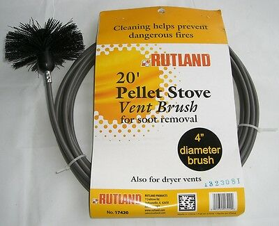 RUTLAND 20' Pellet Vent/Dryer Vent Brush with Handle NEW! FREE USA SHIP! #17420
