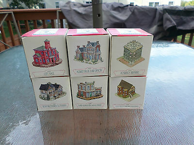 liberty falls lot of 6 miniature collectible buildings