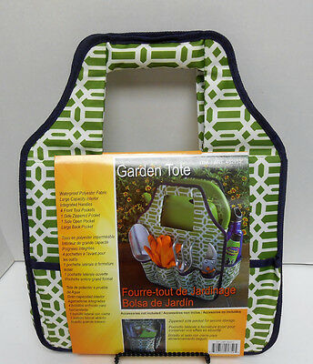 "Seven Pocket Waterproof Polyester Garden Tote (14"" x 12"" x 8"") Green/White"