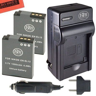 BM EN-EL12 2X Batteries & Charger for Nikon Coolpix A900, AW110, AW120, AW130