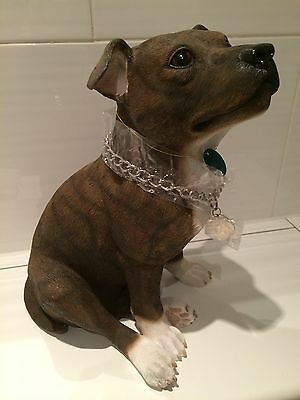 Large Brindle Staffordshire Bull Terrier Ornament Gift Figurine '34cm'