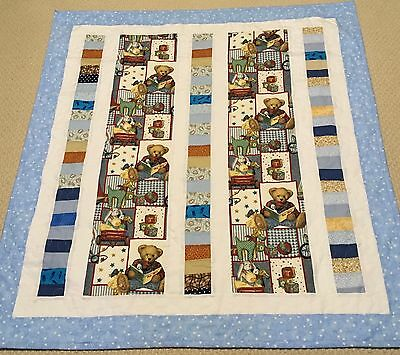New Handcrafted Cotton B. J. Teddy Bear Baby Quilt