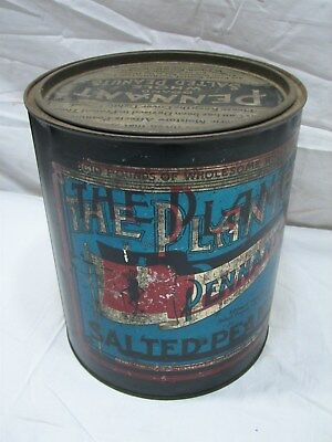 Antique Planters Peanuts Pennant 10 lb Tin Can Advertising Error Nuts Printing