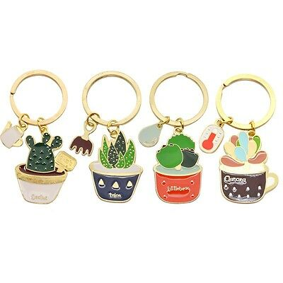 1PC Cute Enamel Keychain Cactus Aloe Potted Keyring Bag Key Chain Ring Pendant