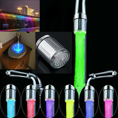LED Water Faucet Stream Light Changing Glow Shower Stream Tap + Faucet  Home