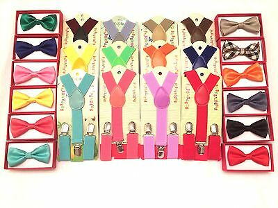 New Suspender and Bow Tie Sets for Boys Girls  Kids Child Toddler Children  USA