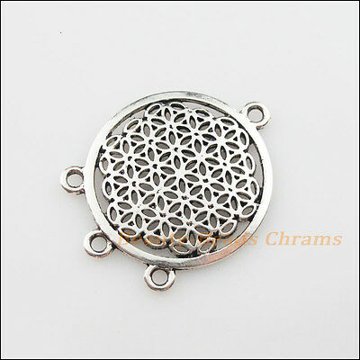 2Pcs Tibetan Silver Tone Round Flower 1-3 Charms Pendants Connectors 29x37mm