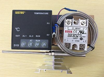 Digital PID Temperature Controller D1S-VR-220+ 2M PT100 Probe+25A SSR+Heat Sink