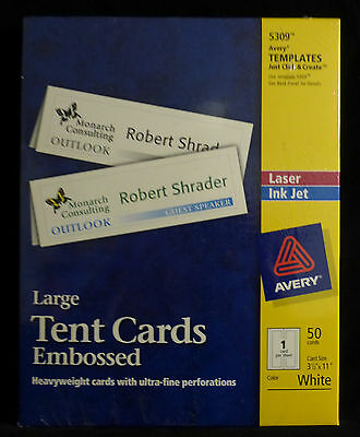 AVERY 5309 Large TENT CARDS Uncoated Heavyweight Embossed 50 Cards-Laser/Inkjet