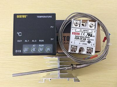 Digital PID Temperature controller D1S-VR-220+ 25A SSR+2M K-Type Probe+Heat Sink
