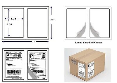 """400 Quality Round Corner Shipping Labels 2 Labels Per Sheet 8.5"""" x 5.5"""""""