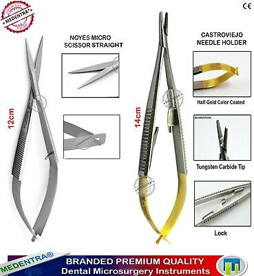 Microsurgical Castroviejo Suture Needle Holder-Forceps TC+Noyes Spring Scissors