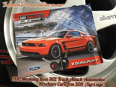 2012 Mustang Boss 302 Track Key Ford Racing Brochure Spec Card Shelby Gt