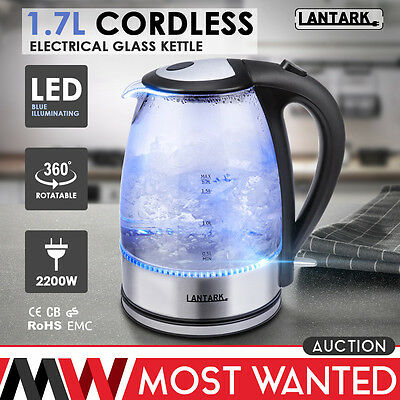 1.7L LED Illuminated Glass Kettle 360 Cordless Electric UK Stirx Temp Controller