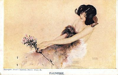 People Postcard Faunesse Lady With Horns Flower art nouveau F3 035