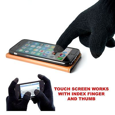 Mens Black Thermal Insulation Touch Screen Smartphone Device Winter Warm Gloves