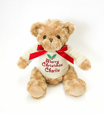Personalised Teddy Bear with embroidered Christmas Knitted Jumper - choose name