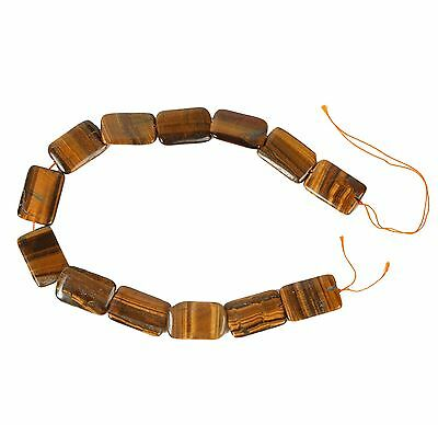String of Large Rectangular Tiger Eye Beads for Jewellery Making (T2AS)