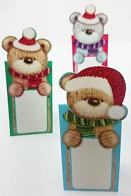 12 Cute BEAR Table Name Number Glitter Place Card Party Decoration Settings Xmas