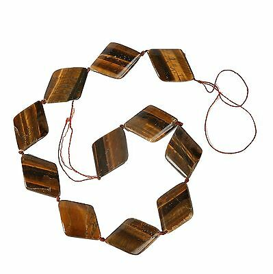 String of Large Diamond Shaped Tiger Eye Beads for Jewellery Making (T2BS)